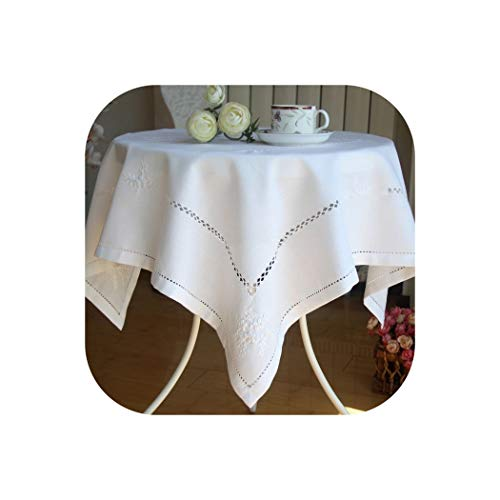Delicate Embroidery Tablecloth Elegant Embroidered Table Cloth Overlays Home Decor Textiles,Color 1,57x57cm