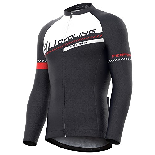 4ucycling Men's Team Wear Cycling Jersey Long Sleeve Black-W
