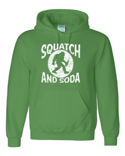 Large Irish Green Adult Squatch And Soda Bigfoot Sasquatch Hooded Sweatshirt Hoodie