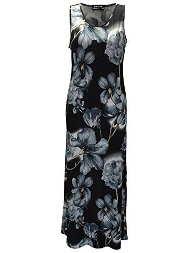 Womens Manches Longues Dames Maxi Design Imprimé Floral Robe D'été Autour Du Cou Gris