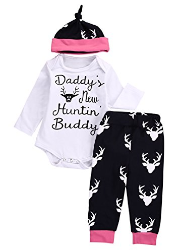 Review Emmababy Newborn Baby Boys Animal Deer Print Bodysuit Romper+ Pants+ Hat 3PCS Outfit Set (6-12Months, White)