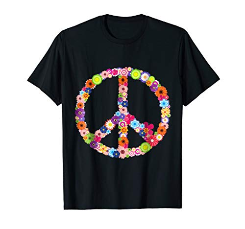 Hippie Peace Sign T-shirt Flower Vintage Hippy Symbol Tee