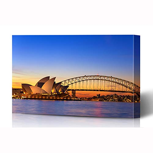 Bracket Cityscape Wall (Ahawoso Canvas Prints Wall Art 16x12 Inches Abroad Sunset Sydney Australia September Opera Theatre Parks Bridge Theater Australian Wooden Frame Printing Home Living Room Office Bedroom)