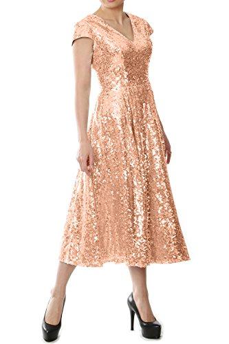 26f005d0d7 MACloth Women Sequin Midi Bridesmaid Dress Cap Sleeve Mother of The Bride  Dress (US18w
