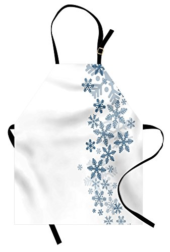 Lunarable Snowflake Apron, Romantic Winter Inspired Pattern Frosty Abstract Design Christmas, Unisex Kitchen Bib Apron with Adjustable Neck for Cooking Baking Gardening, Slate Blue ()