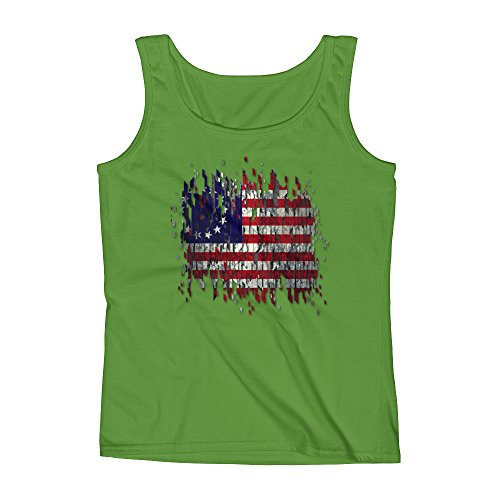 Arkansas Made Old Glory Distressed American Flag Ladies' Tank Arkansas Confederate Flag