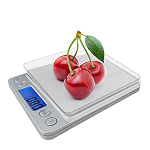 Spirit Digital Kitchen Scale Accuracy Pocket Food Scale Pronto Digital Multifunction Cooking Scale 0.001oz/0.01g 500g with Back-Lit LCD Display (Silver)