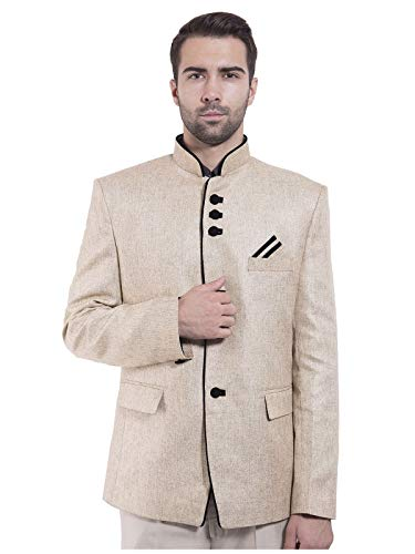 En Rayon Blazer Coton Vingt Couleurs Bandhgala Nehru Pour Wintage Mandarin Festif Beige Homme Et wYRqYXr