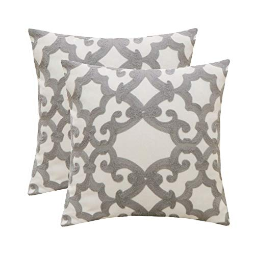 HWY 50 Cotton Linen Grey Decorative Embroidered Throw Pillows Covers Set Cushion Cases for Couch Sofa Living Room Gray Geometric 18 x 18 inch Pack of 2