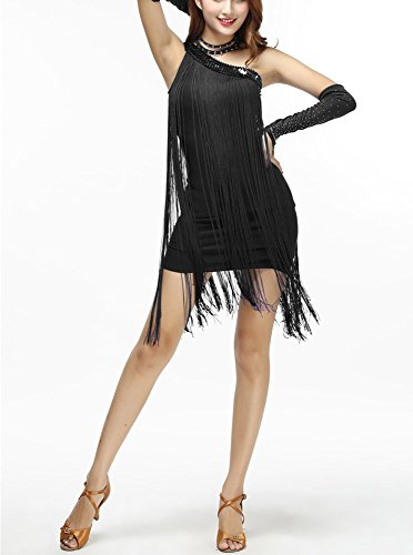 One Shoulder Asymmetrical Fringe Flapper Inspired Prom Cocktail Dress Black