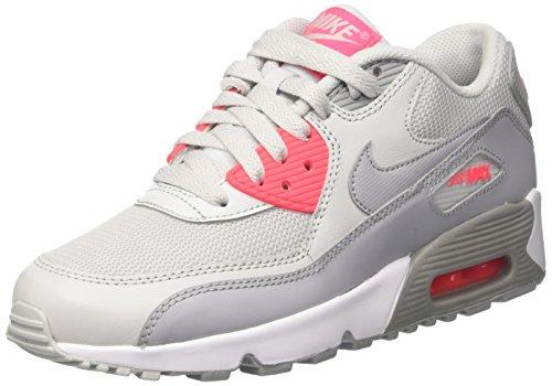 Nike Air Max 90 Mesh Gs, Zapatos para Correr para Niñas Multicolor (Pure Platinum/wolf Grey Racer Pink White)
