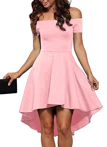 HUSKARY Womens Off The Shoulder High Low Club Cocktail Party Prom Skater Graduation Dresses