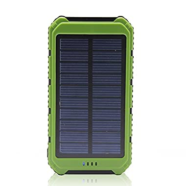 Solar Charger Battery Matone® Portable 10000mAh Solar Battery Charger Rain-Resistant Shockproof, Dual USB output Solar Powered Phone Charger for iPhone, iPod, iPad, Samsung, HTC, GPS & Gopro Camera (Green)