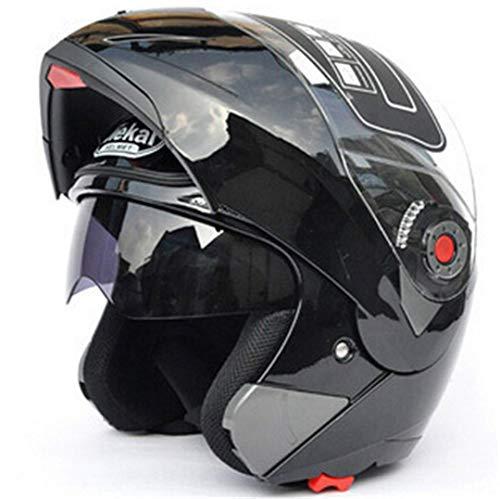 (ty Motorcycle Flip Up Helmet Moto Helmet Motorbike with Inner Sun Visor Helmet -105 Gloss Black M)