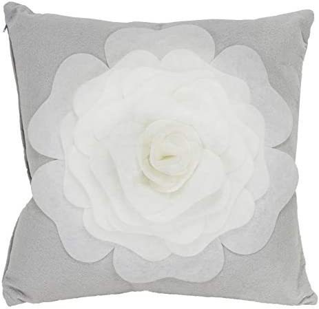 Fennco Styles Large Felt 3D Rose Decorative Throw Pillow Cover Insert 17 x 17 Inch – Grey Flower Pillow for Couch, Home D cor, Bedroom D cor and Holiday, Housewarming Gift