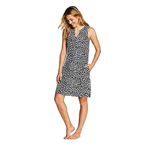 (Lands' End Women's Cotton Jersey Sleeveless Tunic Dress Swim Cover-up Print, L, Black Snow Leopard)
