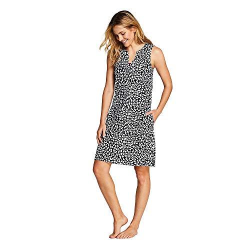 Jersey Cover Cotton Womens (Lands' End Women's Cotton Jersey Sleeveless Tunic Dress Swim Cover-up Print, L, Black Snow Leopard)