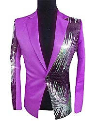 Men's Sequins Sparkly One Button Blazer S-Purple