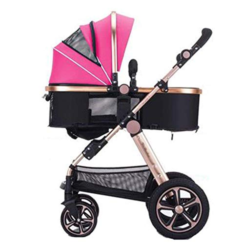 Strollers Two Way Toddlers Strollers Four Rounds Newborn Prams fold Baby Pushchairs Suitable for 0-3 Years Old with Cup Holder and Meal Plate,Can sit and Lie Down Standard (Color : Pink)