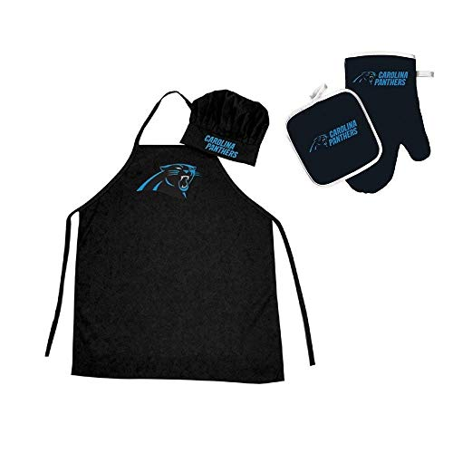 - 4 Piece Black NFL Carolina Panthers Apron, Chef Hat, Oven Mitt and Pot Holder Set Team Logo Printed Kitchen Chef Apron Sports Themed Cooking Uniform BBQ Gardening Bib Clothing Fans Gift, Polyester