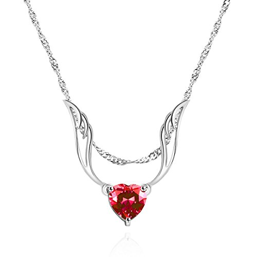 Lady's Pendant Red AAA Cubic Zirconia Rhodium Plated Heart Angel Wings Shaped Wedding Party Necklace Jewelry (Shaped Rhodium Heart Pendant Plated)