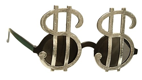Fun and Funky GREED Silver Money Signs Party - Glasses Funky Mens
