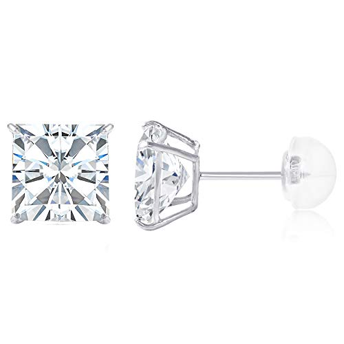 d Square Solitaire Princess Cut Cubic Zirconia CZ Stud Push Back Earrings - 1.75ct (7mm) ()