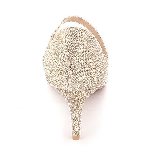 london noche Aarz para gatito graduación de fiesta por dorada punta talla sandalias baile mujer bodas zapatos la de mediano estrecha drnrRAqwx8