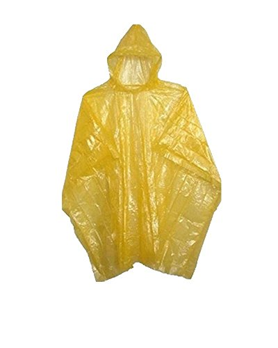 Sara Glove Emergency Yellow Rain Ponchos - Lightweight & Disposable Case of 200… - Yellow Kids Poncho