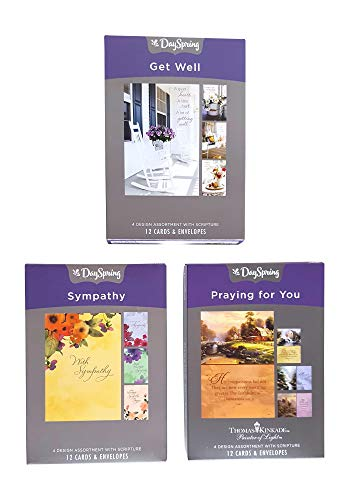 Dayspring Boxed Cards Variety Pack, 12 Sympathy, 12 Kinkade Praying For You, 12 Get Well (36 Cards With Envelopes)