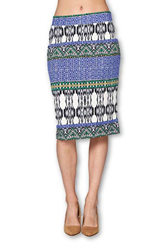 Women's High Waist Knit Stretch Multi Print Office Pencil Skirt (S-3XL) -Made in USA (Blue White, Large)