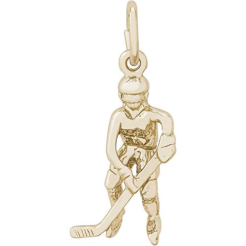 Rembrandt Charms Female Hockey Player Charm, Gold Plated Silver (Player Plated Charm Gold)