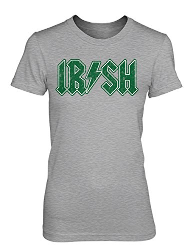 Irish Girl Light T-shirt - Tcombo Irish Rockstar - Ireland - St Patricks Day Girls/Juniors T-shirt (XL, Light Gray)