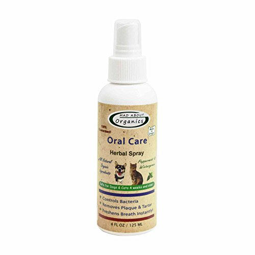 Mad About Organics All Natural Dog & Cat Oral Care Herbal Spray Dental Plaque Remover 4oz