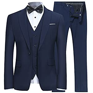 Best Epic Trends 41eJasVmJEL._SS300_ YFFUSHI Men's Slim Fit 3 Piece Suit One Button Business Wedding Prom Suits Blazer Tux Vest & Trousers