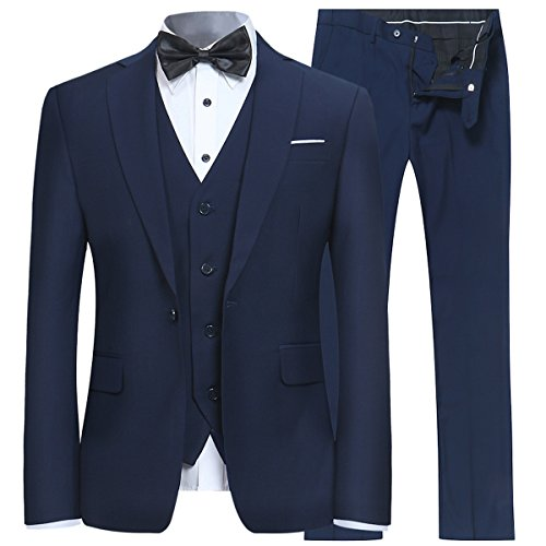 Men's Slim Fit 3 Piece Suit One Button Blazer Tux Vest & Trousers, Navy, - Trouser Suit Piece Two