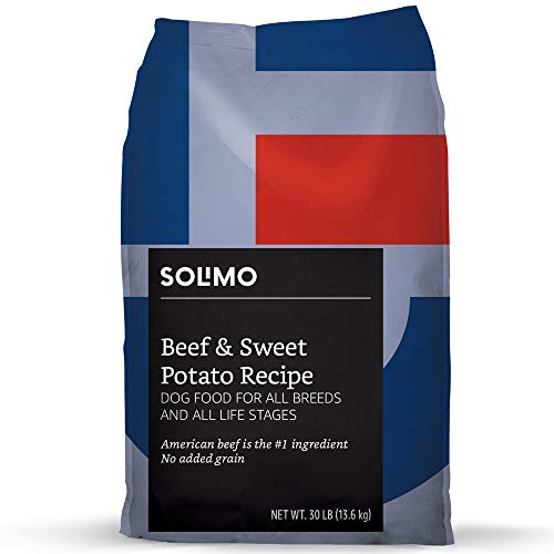 Amazon Brand - Solimo Ultra-Premium Dry Dog Food, No Added Grain, Beef & Sweet Potato Recipe, 30 lb. Bag from Solimo