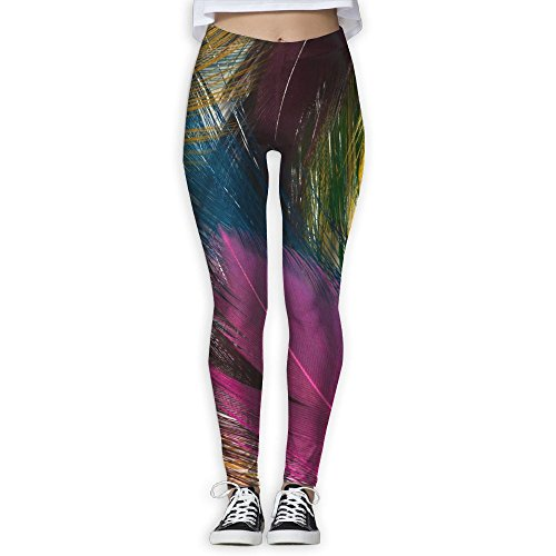 Beautiful colorful Feather Women Printed Full-Length Yoga Workout Leggings For Running Outdoor Sports (Beautiful Full Ostrich)