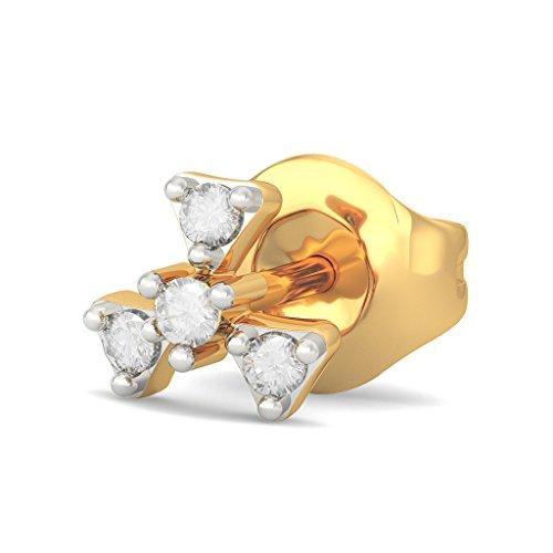 14K Or jaune 0.09CT TW White-diamond (IJ | SI) Boucles d'oreille à tige