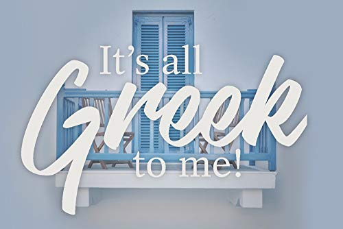 (It's All Greek To Me - Blue Balcony and Wood Chairs (12x18 SIGNED Print Master Art Print w/Certificate of Authenticity - Wall Decor Travel Poster))