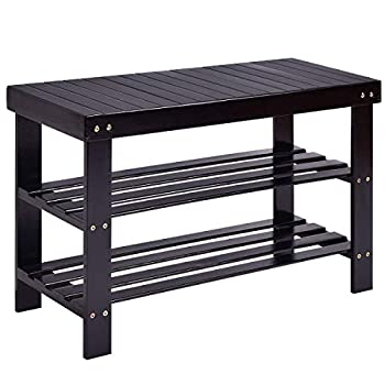COSTWAY Bamboo Shoe Rack Bench 3-Tier Free Standing Wood Shoe Storage Organizer Shelf Holder Home Entryway Hallway Furniture Eco-Friendly (Black)