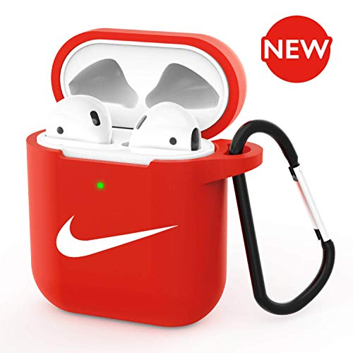 Airpods Case - AirPods Case Cover Silicone Skin & Protective Airpods Accessories for Apple Airpods 2 & 1 Charging Case Red (Front LED Visible)
