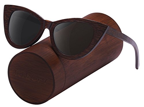 Wood Polarized Cat Eye Sunglasses For Women Wayfarer Style - 100% UV Protection (Brown, - Brand Outlet Sunglasses