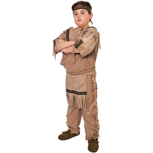 Underwraps Big Boy's Children's Indian Boy Costume - Medium 6-8 Childrens Costume, tan, (Kids Classic Indian Boy Costumes)