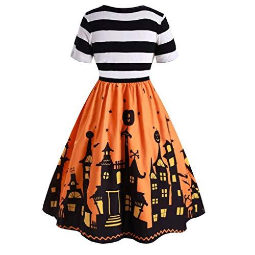 Women Vintage Long Sleeve V Neck Halloween Housewife Print Knotted V Back Dress