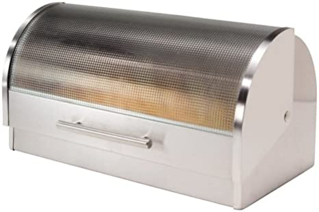 Oggi Stainless Steel Roll Top Bread Box with Tempered Glass Lid by Oggi