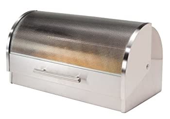 Oggi Stainless Steel Bread Box with Tempered Glass Lid