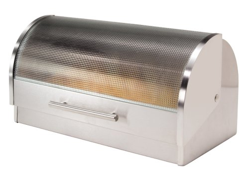 Oggi Stainless Steel Roll Top Bread Box with Tempered Glass (Metal Bread Box)