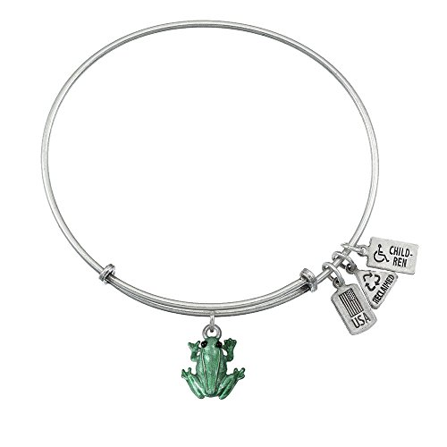 Enamel Charm Frog - Wind and Fire 3D Green Enamel Frog Charm with Bangle WF558