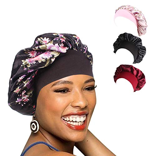 1Pack/2Packs/4Packs Luxury Wide Band Satin Bonnet Cap Comfortable Night Sleep Hat Hair Loss Cap